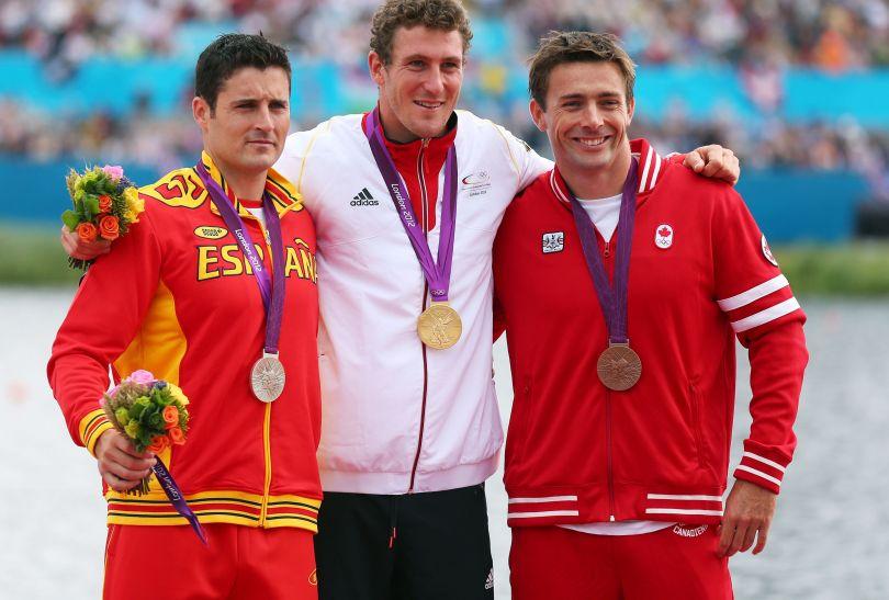 Podium konkurencji C1 na 1000 metrów: złoty Niemiec, srebrny Hiszpan, brązowy Kanadyjczyk (fot. Getty Images)
