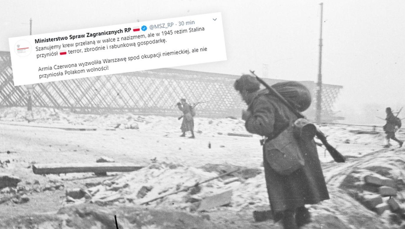Warszawa w styczniu 1945 roku. Radzieccy żołnierze nad brzegami Wisły; w tle Most Aleksandryjski – pierwszy w Warszawie most stalowy, wysadzony przez wycofujących się z Warszawy Niemców (fot. arch. PAP/Sanucewicz)