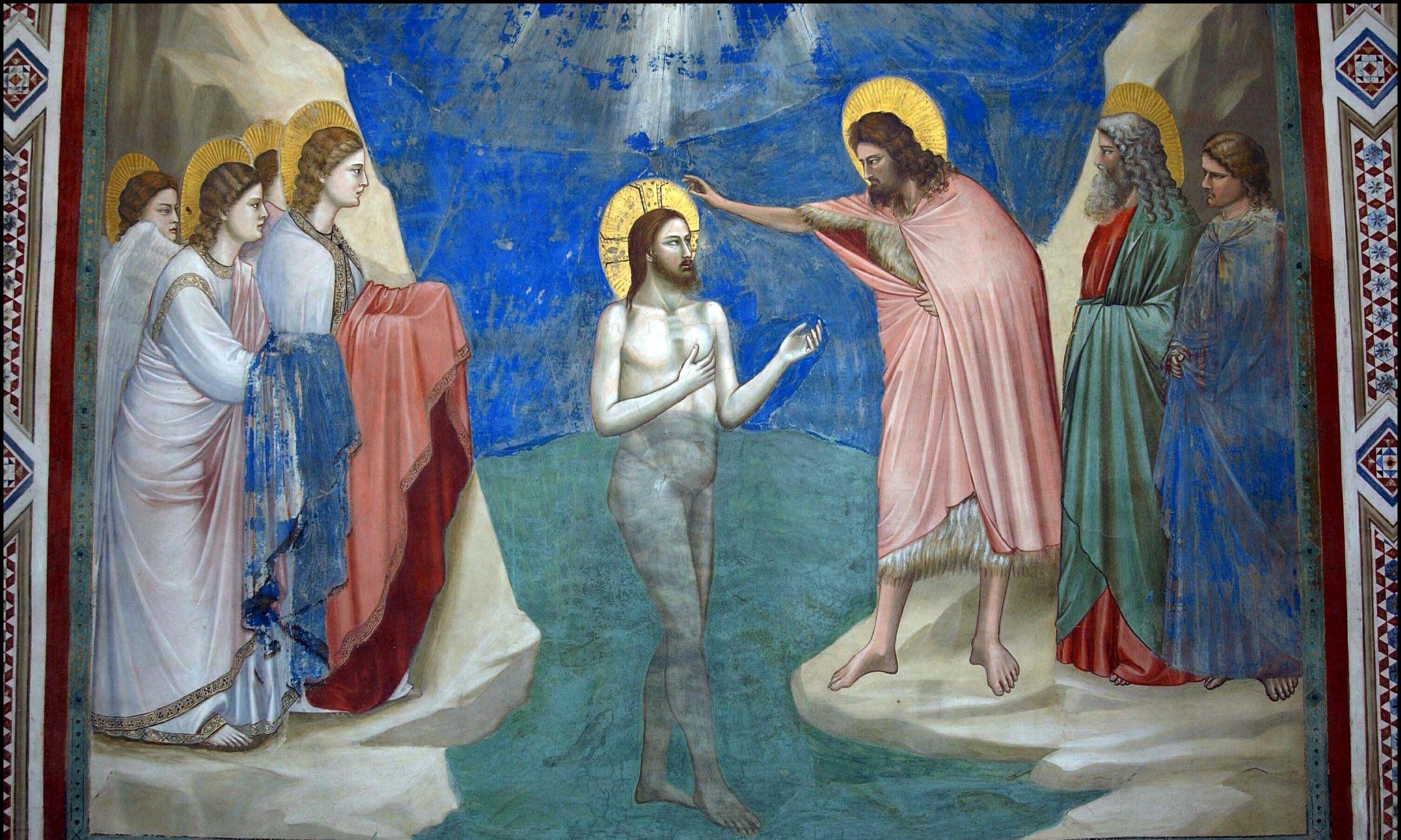 """""""Chrzest Jezusa"""" odrestaurowany fresk z Kaplicy Scrovegnich w Padwie. Fot. Eric VANDEVILLE/Gamma-Rapho via Getty Images"""