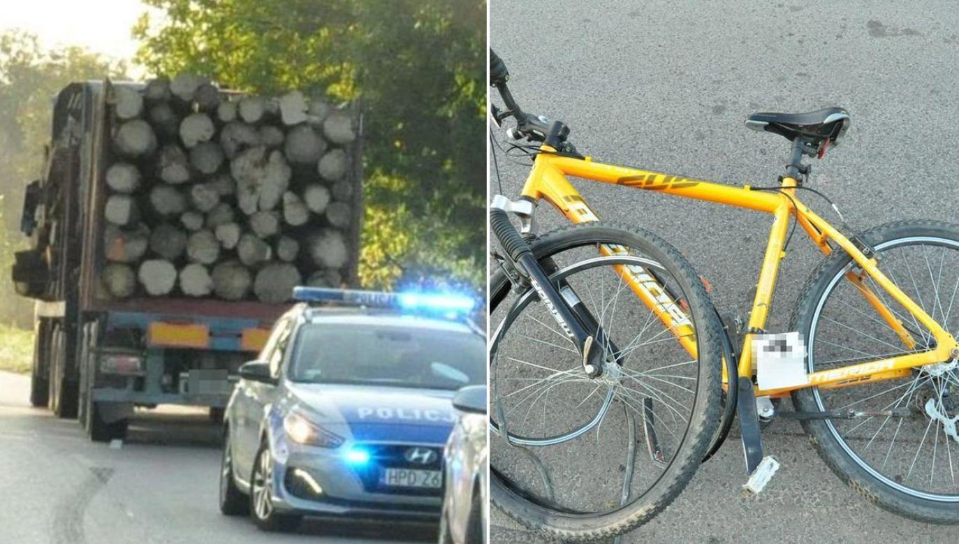 69-letni rowerzysta trafił do szpitala (fot. Policja)