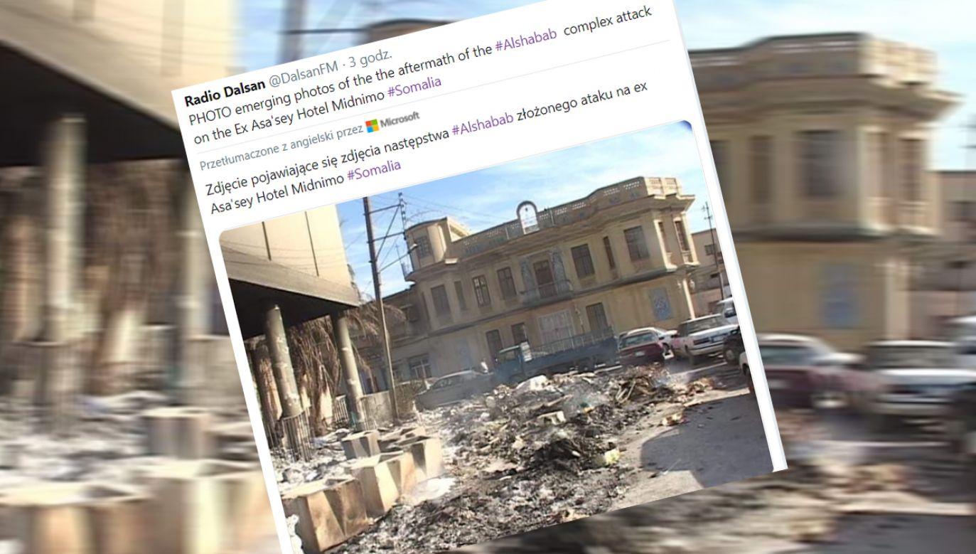 W ataku na hotel Medina w portowym mieście Kismaju w południowej Somalii zginęło co najmniej trzynaście osób (fot. Twitter/@DalsanFM)