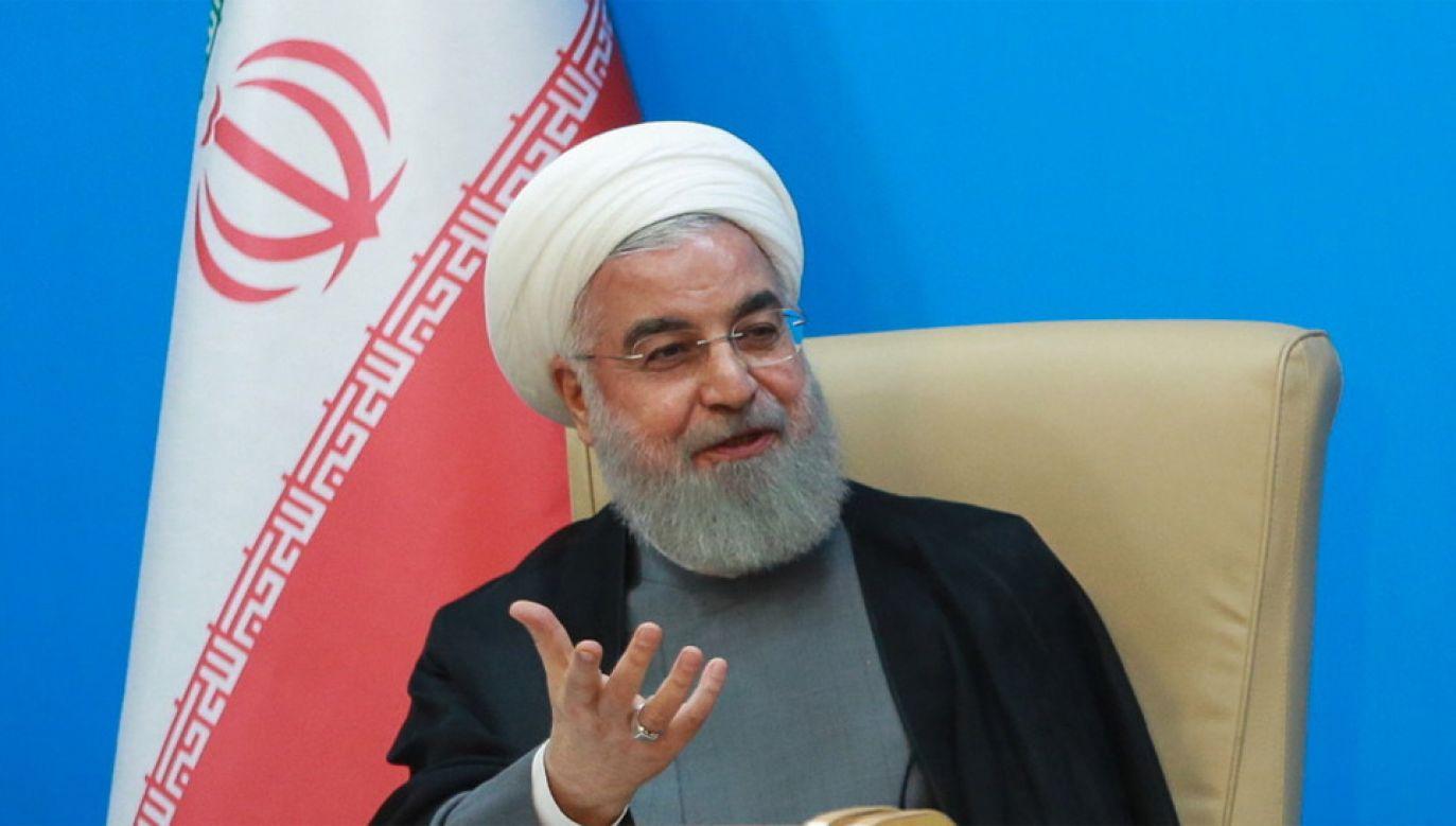 """Hasan Rowhani zapewnia, że """"Iran nie jest zainteresowany eskalacją napięć w regionie"""" (fot. PAP/EPA/HANDOUT)"""