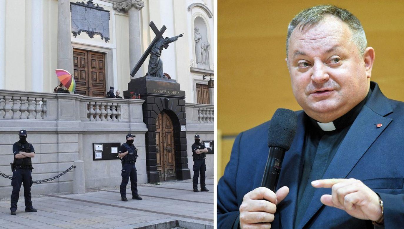 Ks. Cisło odniósł się do sprawy profanacji figury Chrystusa przez aktywistów LGBT (fot. arch.PAP/Radek Pietruszka; arch. PAP/Tytus Żmijewski)