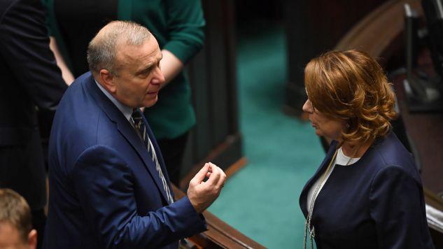 Grzegorz Schetyna, były przewodniczący PO, i marszałek Sejmu Małgorzata Kidawa-Błońska (fot. PAP/Radek Pietruszka)