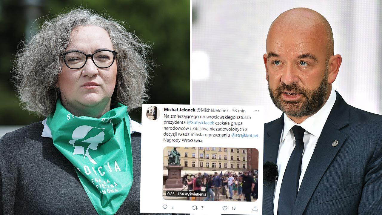 Marta Lempart i Jacek Sutryk (fot. Forum/Andrzej Hulimka; PAP/Maciej Kulczyński)