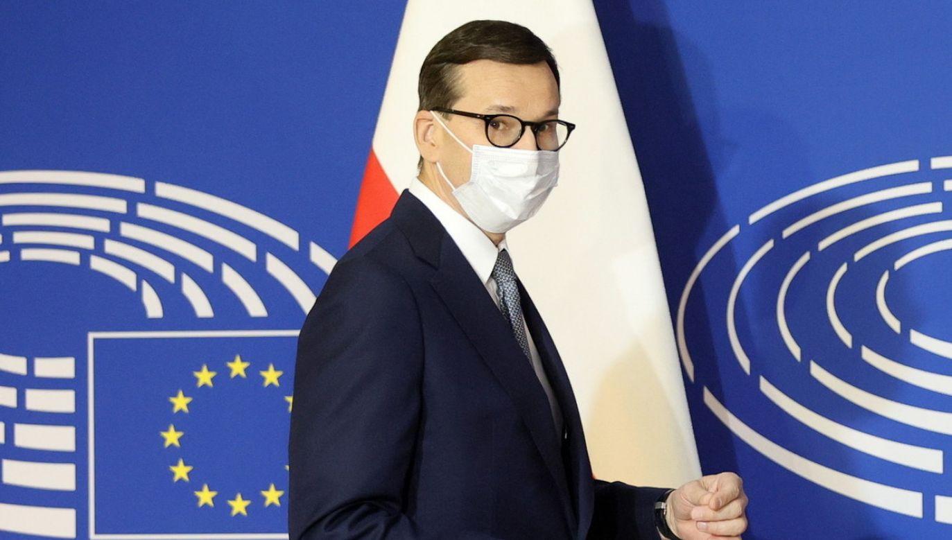 Premier Mateusz Morawiecki podczas posiedzenia Parlamentu Europejskiego w Strasburgu (fot. EPA/RONALD WITTEK / POOL, PAP EPA)