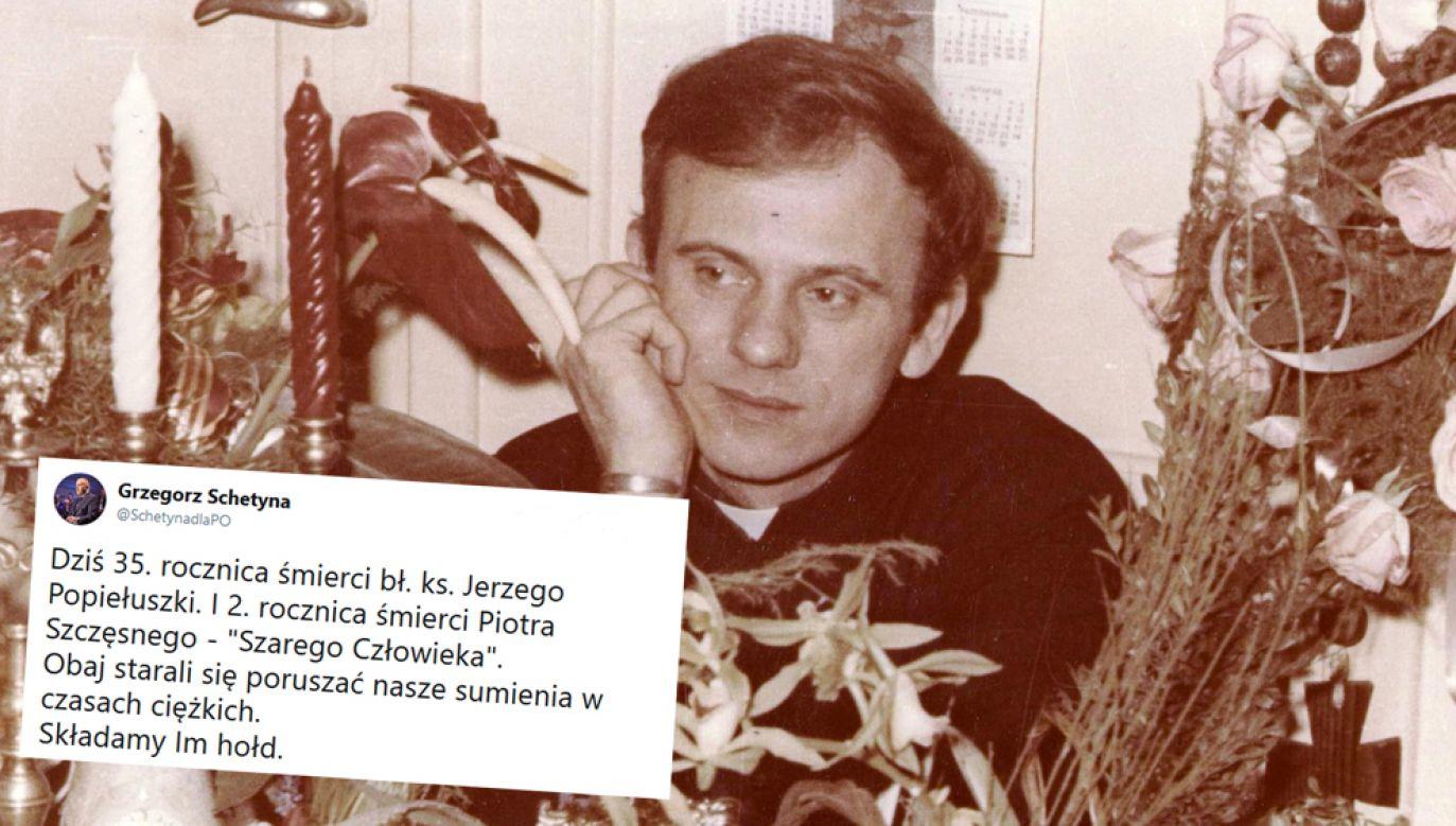 Bł. ks. Jerzy Popiełuszko został bestialsko zamordowany 19 października 1984 r. przez funkcjonariuszy departamentu IV MSW (fot. Andrzej Iwański/CC BY-SA 3.0 / Twitter/@SchetynadlaPO)