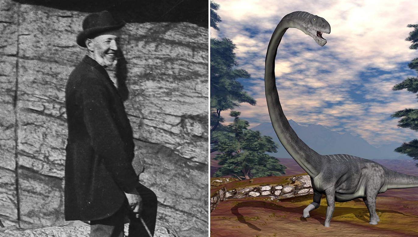 Carl Hagenbeck i zauropod, którego miał przypominać mokele-mbembe (fot.  Atelier Schaul/ullstein bild via Getty Images; Shutterstock/Elenarts)