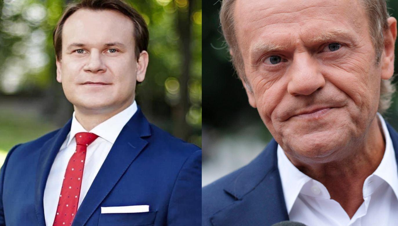 Odnosząc się do napaści na policję Tarczyński przypomniał słowa Donalda Tuska z czasów, gdy ten był premierem (fot. twitter.com/D_Tarczynski; Olivier Hoslet/PAP/EPA)