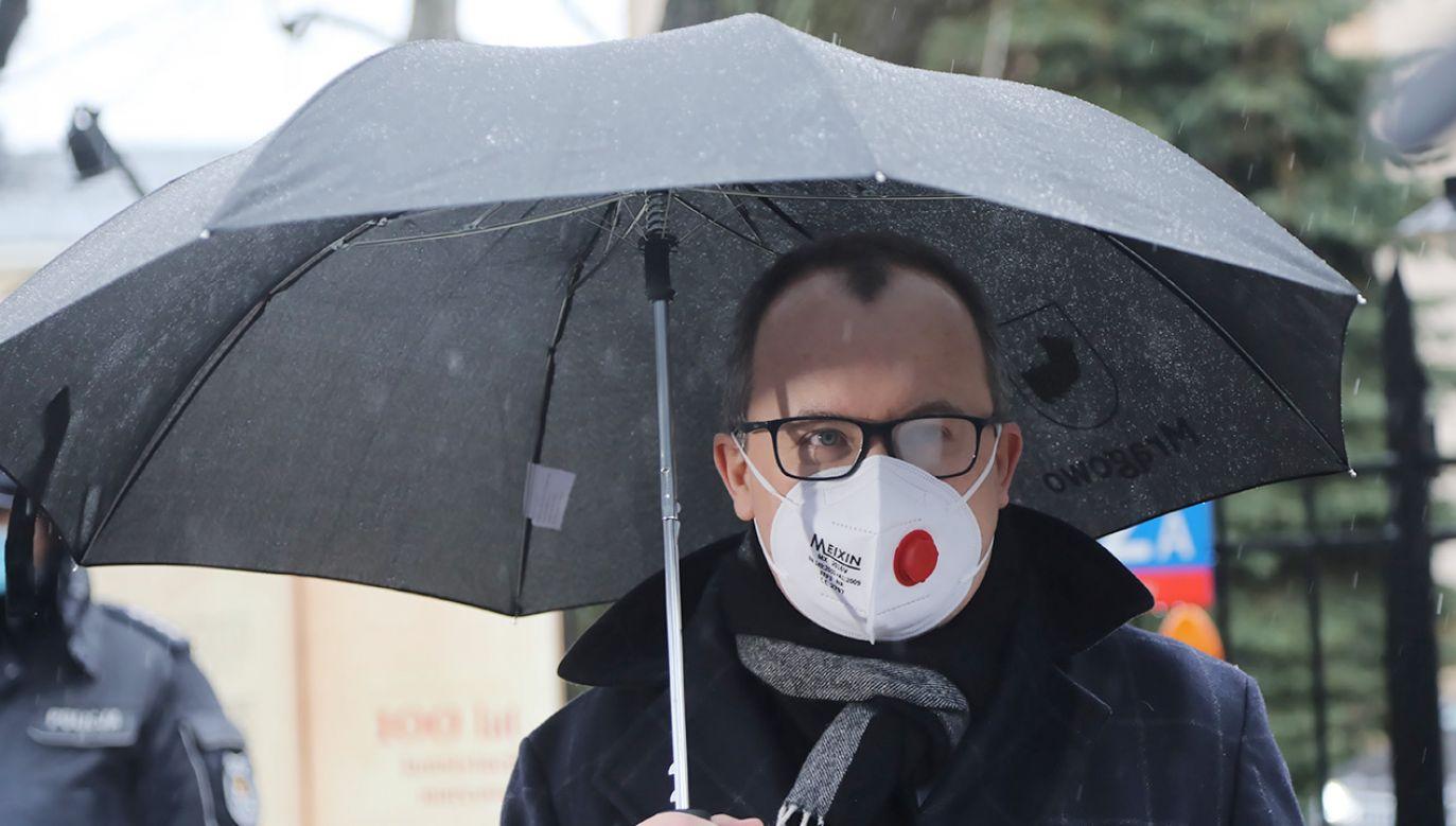 Adam Bodnar przed Trybunałek Konstytucyjnym (fot. PAP/Wojciech Olkuśnik)