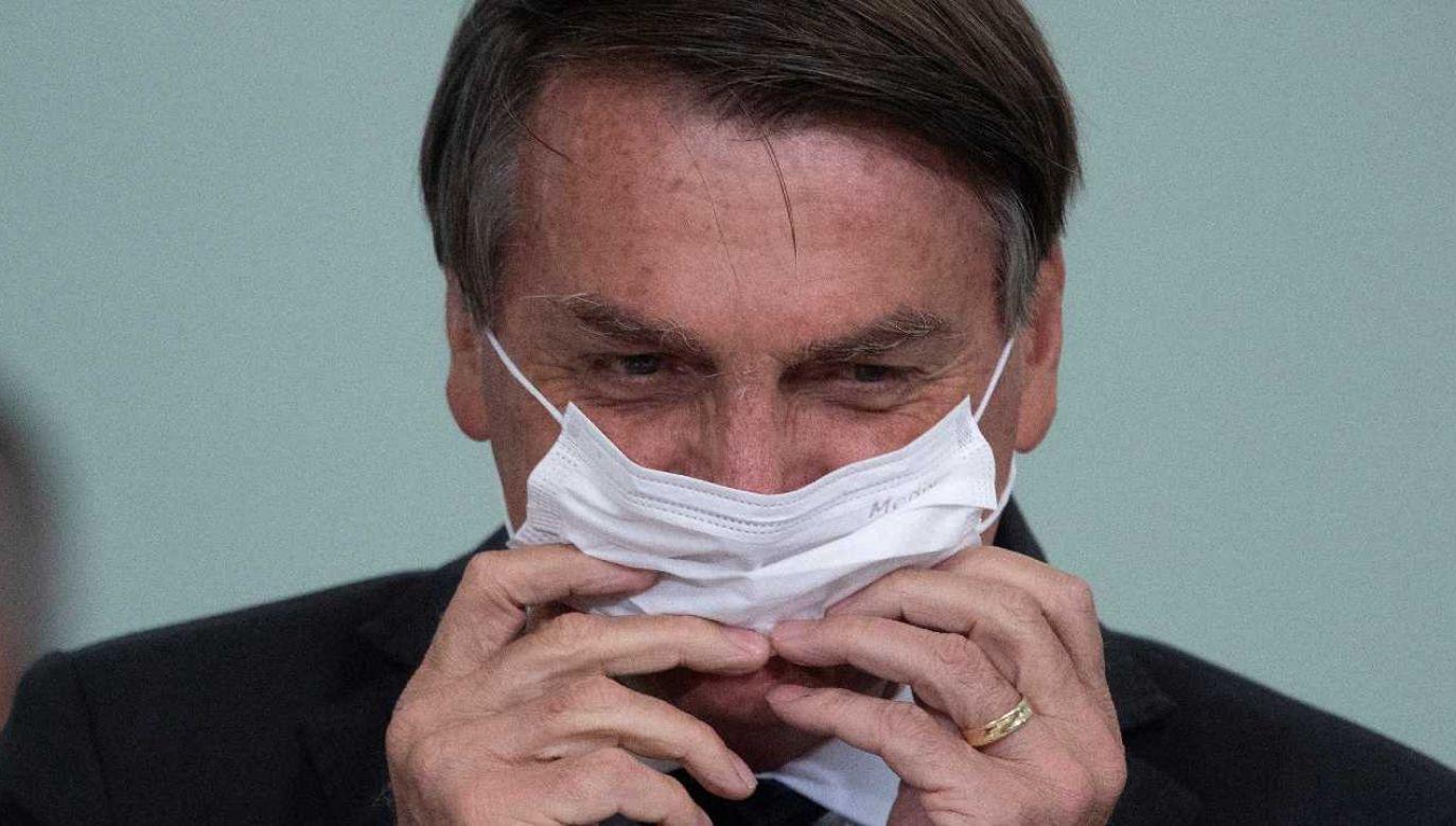 Prezydent Brazylii Jair Bolsonaro sam był zakażony koronawirusem (fot. PAP/EPA/Joedson Alves)