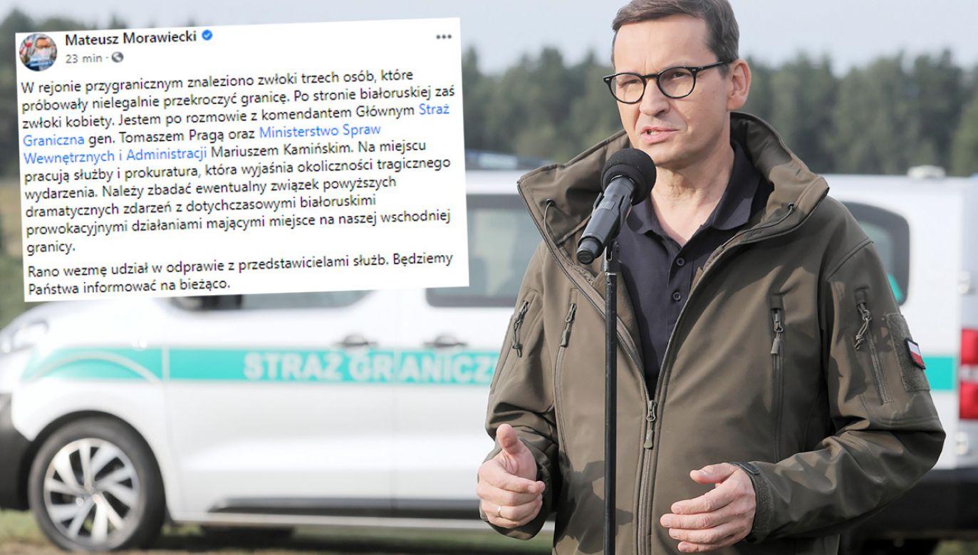 """""""W rejonie przygranicznym znaleziono zwłoki trzech osób, które próbowały nielegalnie przekroczyć granicę"""" – potwierdził Mateusz Morawiecki (fot. PAP/Artur Reszko)"""