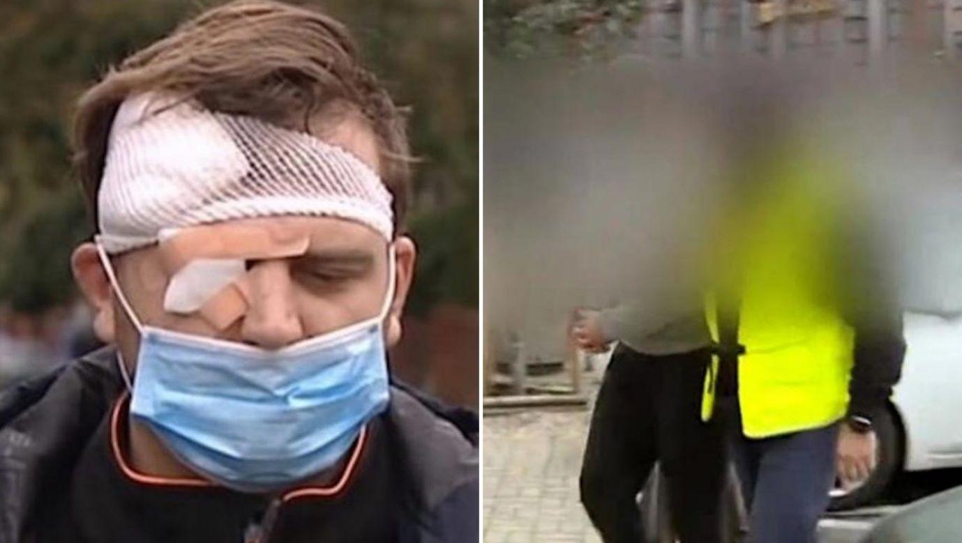 Aleksander K. miał zaatakować dziennikarza TVP, gdy ten kończył już pracę (fot. TVP Info)