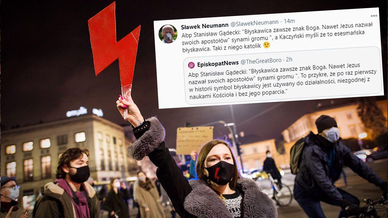 Błyskawica – symbol organizacji Strajk Kobiet (fot. Attila Husejnow / SOPA Images / LightRocket przez Getty Images)