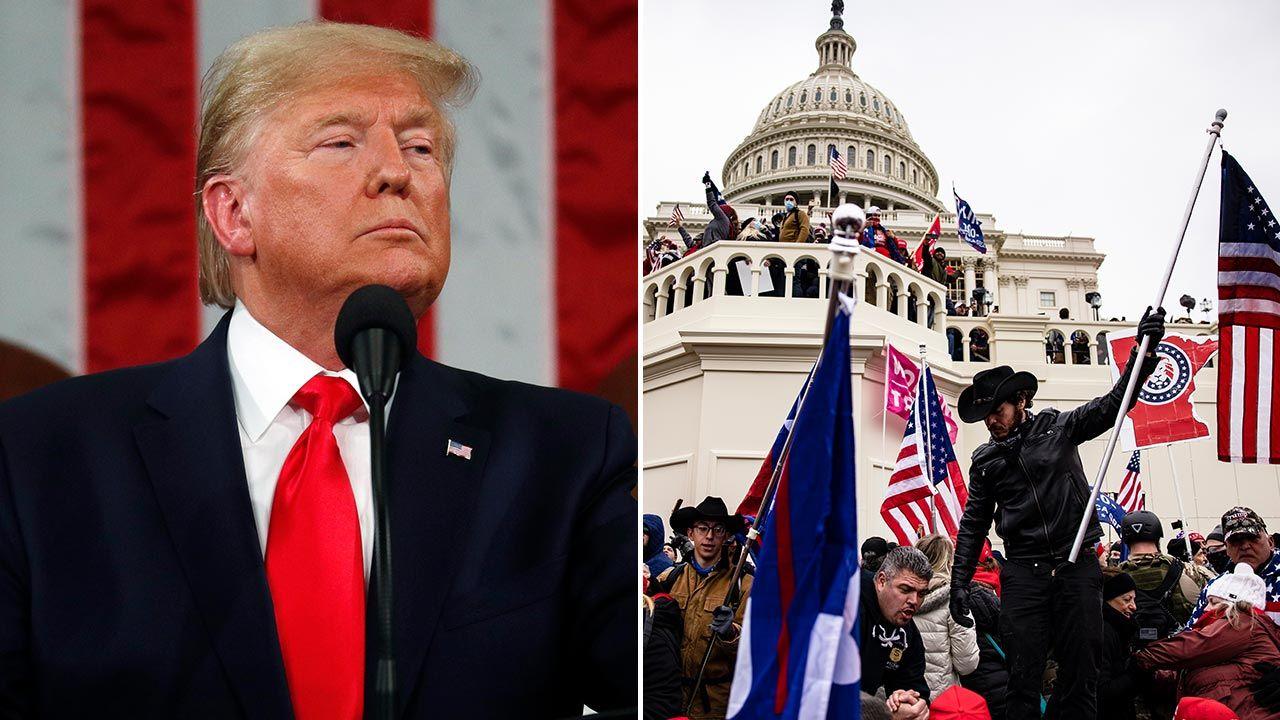 Ustępujący prezydent apeluje o spokój i powstrzymanie się od przemocy (fot. Leah Millis-Pool/Getty Images; Samuel Corum/Getty Images)