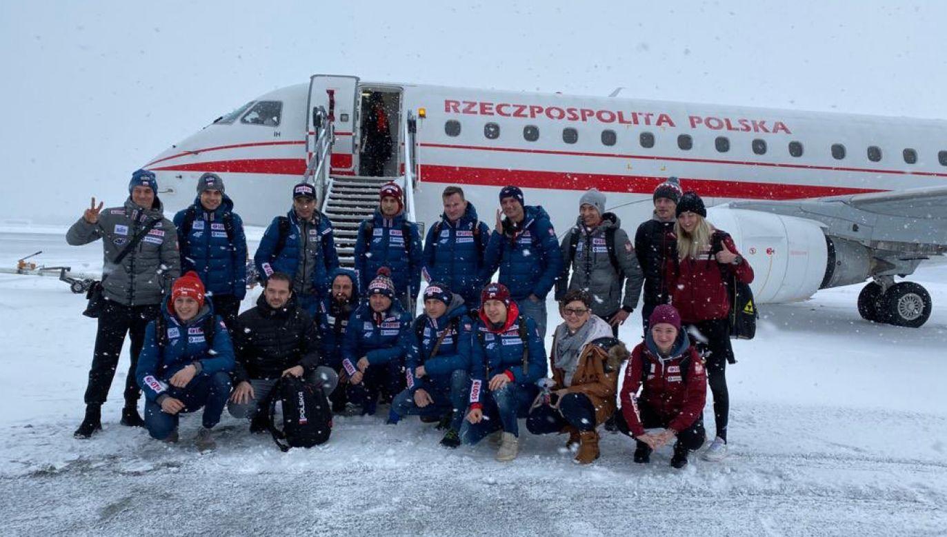 Polscy skoczkowie narciarscy mieli problemy z wydostaniem się z Trondheim w Norwegii (fot. Twitter/ Danuta Dmowska-Andrzejuk)