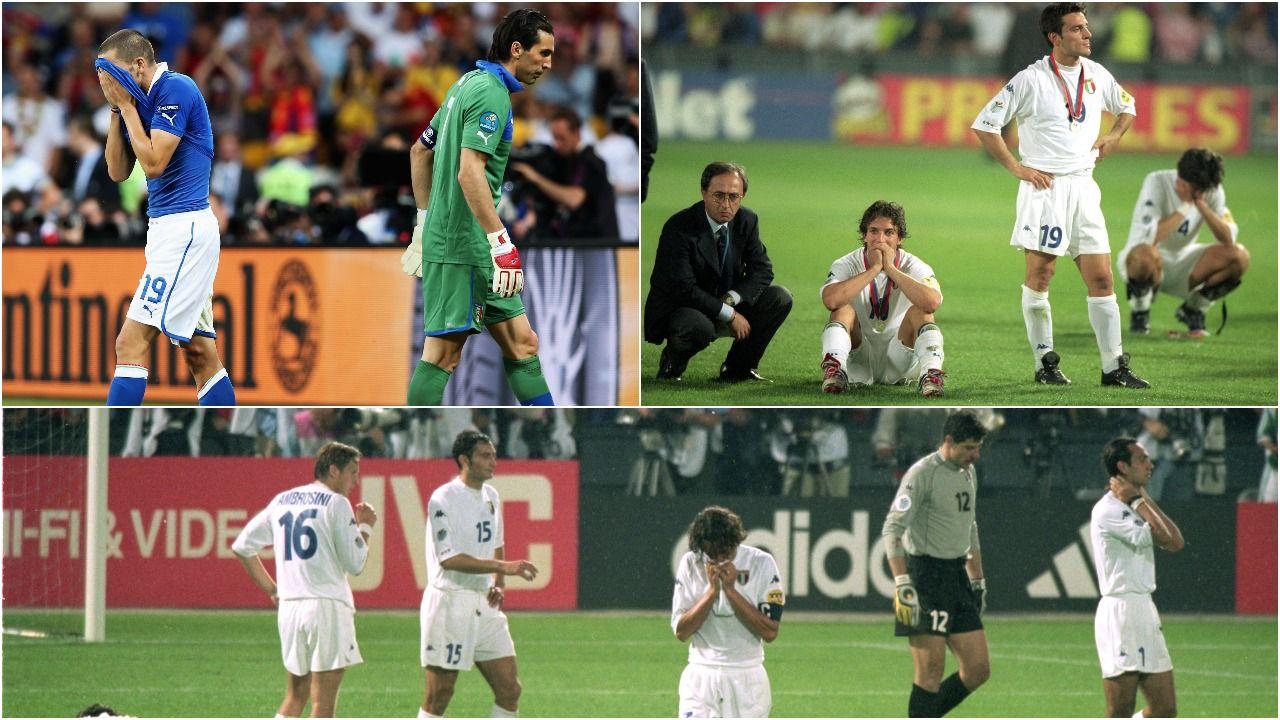 Różne oblicza piłkarskich dramatów Włochów z 2000 i 2012 roku (fot. Getty)