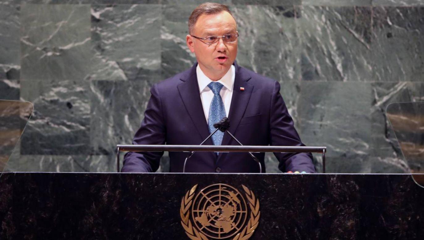 Prezydent Andrzej Duda wystąpił podczas 76. sesji Zgromadzenia Ogólnego ONZ (fot. PAP/EPA/SPENCER PLATT / POOL)