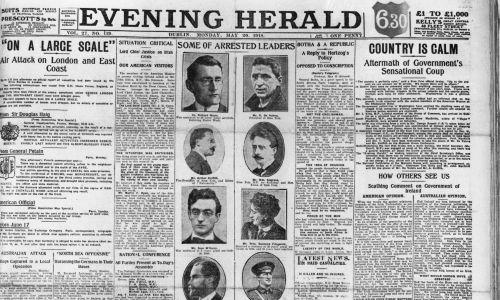 """20 maja 1918 r . Raport z dublińskiej gazety """"Evening Herald"""" na temat aresztowania przywódców Sinn Fein przez rząd brytyjski. Fot. Hulton Archive / Getty Images"""