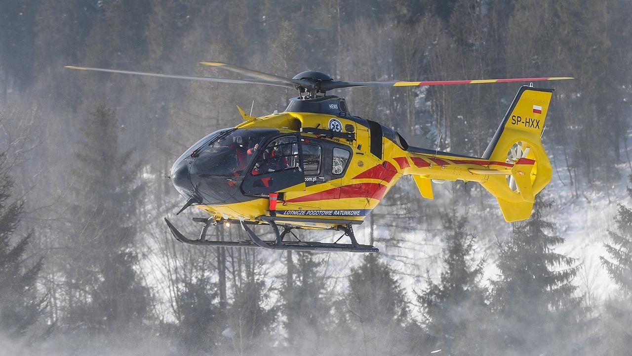 Na miejscu lądował śmigłowiec LPR (fot. Forum/ Marcin Szkodzinski)