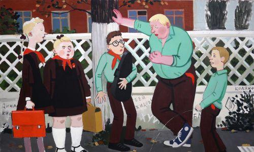 "Zoya Cherkassky-Nnadi ""Przemoc szkolna"" (""School Mobbing""), 2014, olej na płótnie © Rosenfeld Gallery, Tel Aviv"