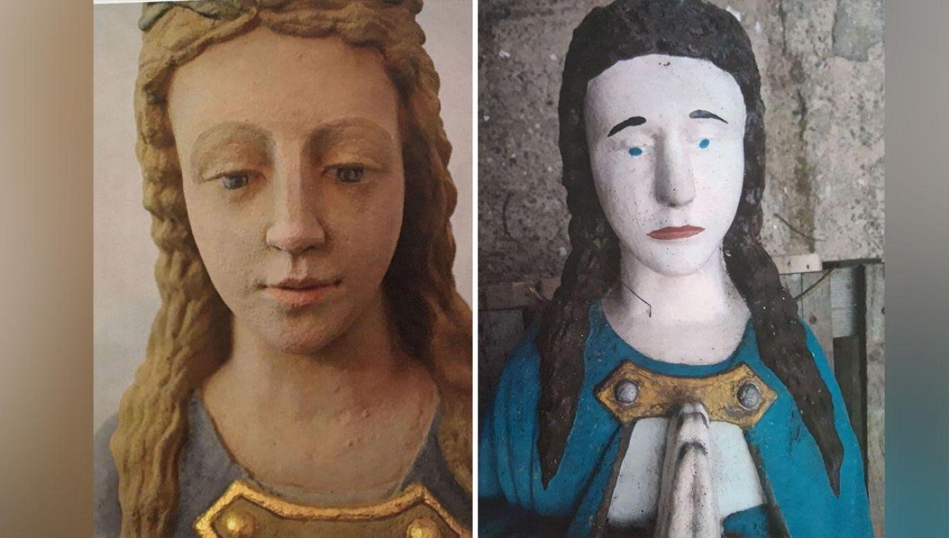 Rzeźba Maryi po renowacji (z lewej) i przed odrestaurowaniem (fot. Facebook/Małopolski Wojewódzki Konserwator Zabytków)