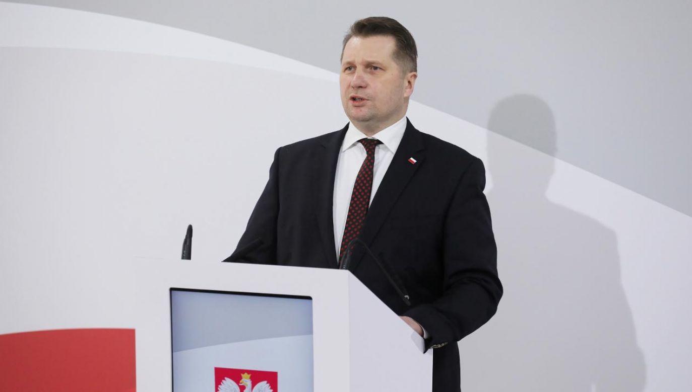 Minister Przemysław Czarnek  mówił o reformie szkolnictwa (fot. PAP/Paweł Supernak)