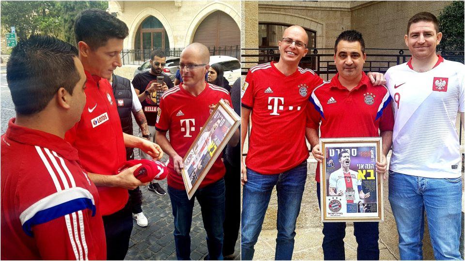 Przedstawiciele izraelskich fanklubów reprezentacji Polski oraz Bayernu Monachium