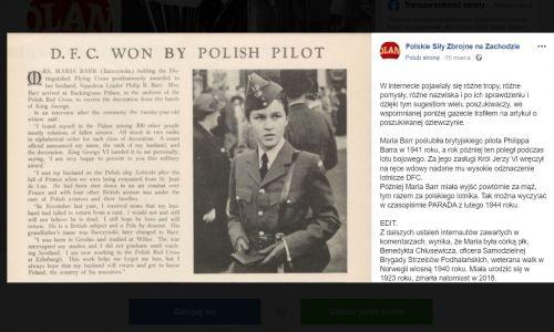 """Mateusz, autor facebookowej strony """"Polskie Siły Zbrojne na Zachodzie"""", znalazł zdjęcie Barr – kadr również nieco inny, jak w """"Dzienniku Polskim"""", ale obie fotografie zostały wykonane zaraz po sobie – w wydawanej w Nowym Jorku gazecie """"The Polish Review"""" z 13 września 1943 roku.  Fot. Printscreen strony https://www.facebook.com/psznazachodzie/photos/pb.493825534156710.-2207520000../1528675990671654/?type=3&theater"""