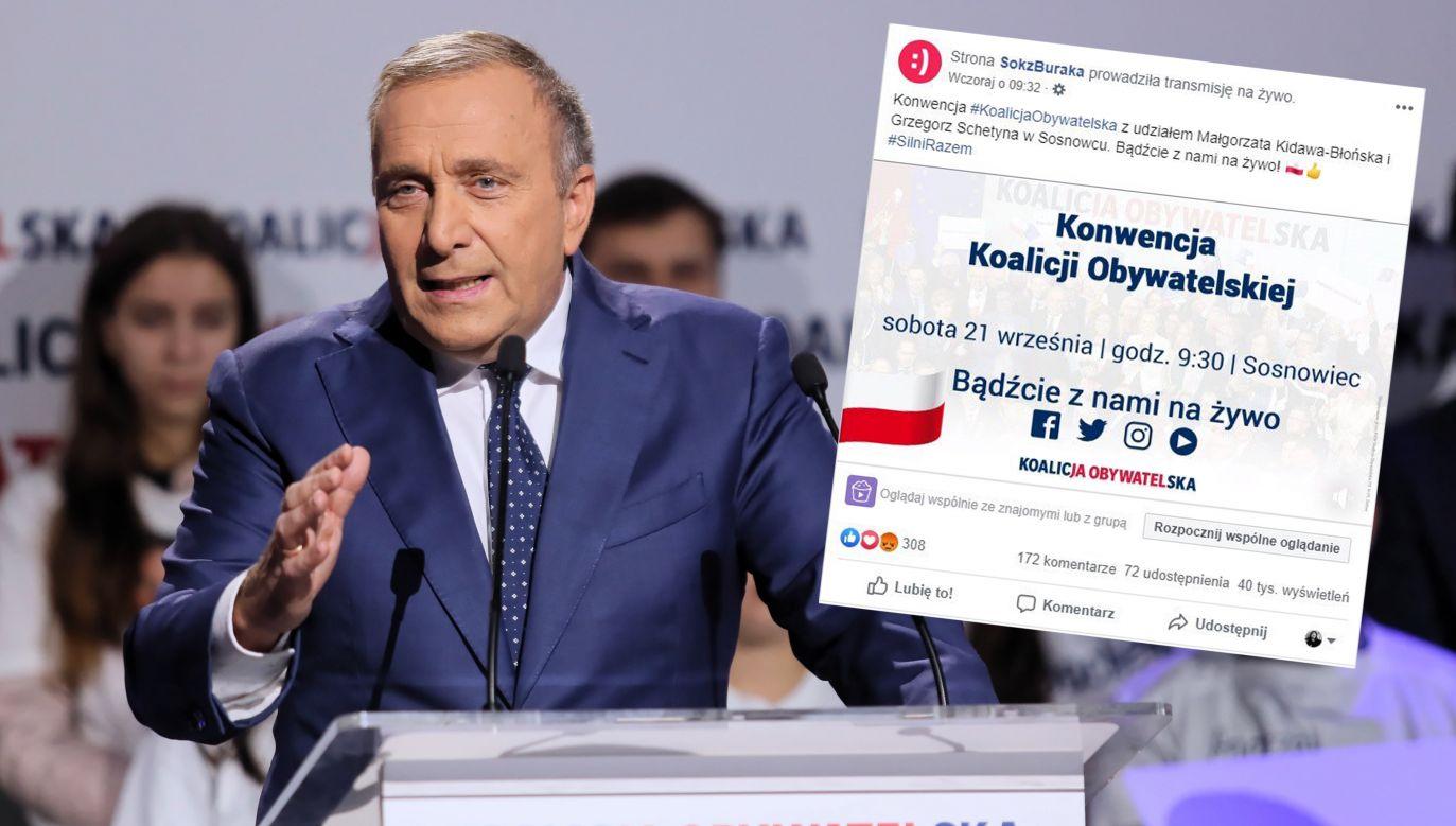 Przewodniczący PO Grzegorz Schetyna Grzegorz Schetyna (fot. PAP/Andrzej Grygiel, Facebook/SokzBuraka)