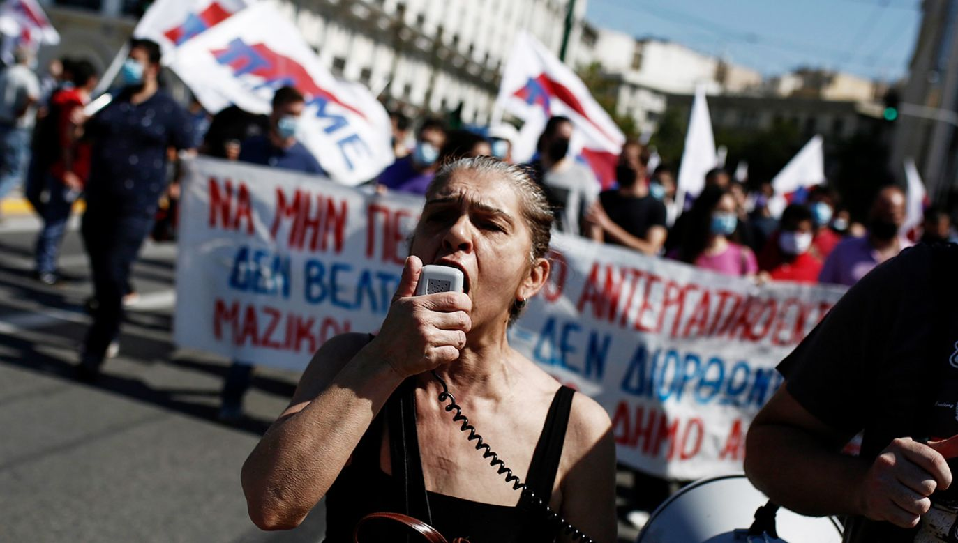Protesty w Grecji (fot. PAP/EPA/YANNIS KOLESIDIS)