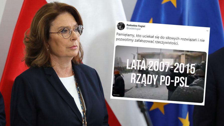 Zastępca rzecznika PiS zamieścił film ukazujący przemoc służb w latach rządów PO-PSL (fot. arch. PAP/Tomasz Gzell; Twitter/Radosław Fogiel)