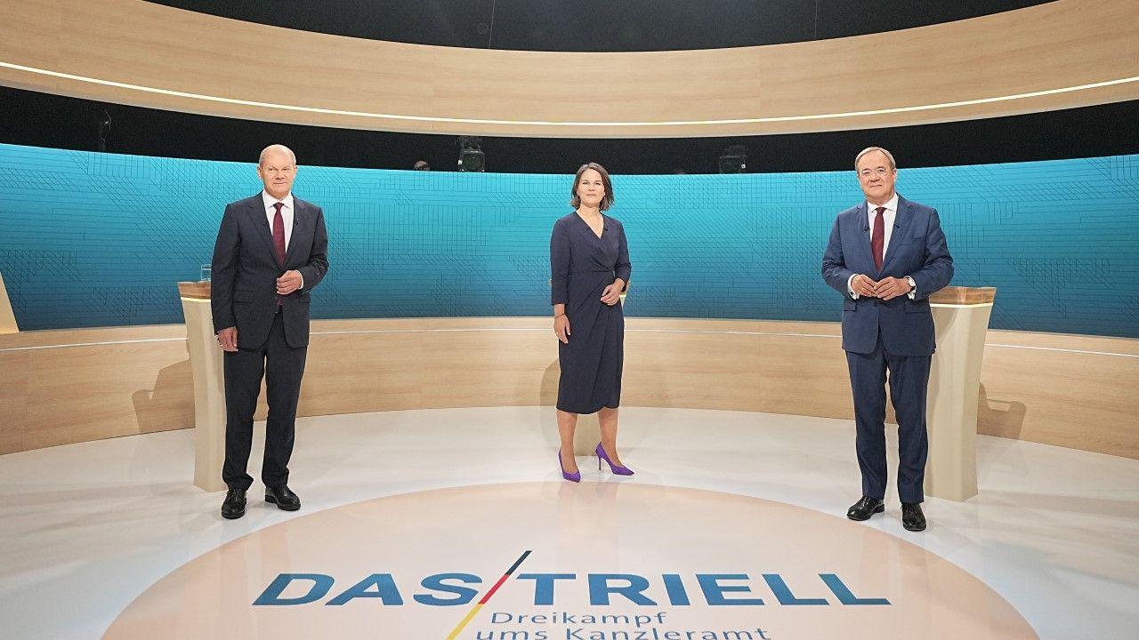 Olaf Scholz, Annalena Baerbock i Armin Laschet (fot. Michael Kappeler - Pool / Getty Images)