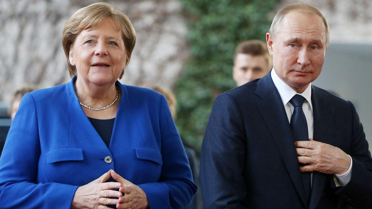 Angela Merkel i Władimir Putin (fot. Adam Berry/Getty Images)