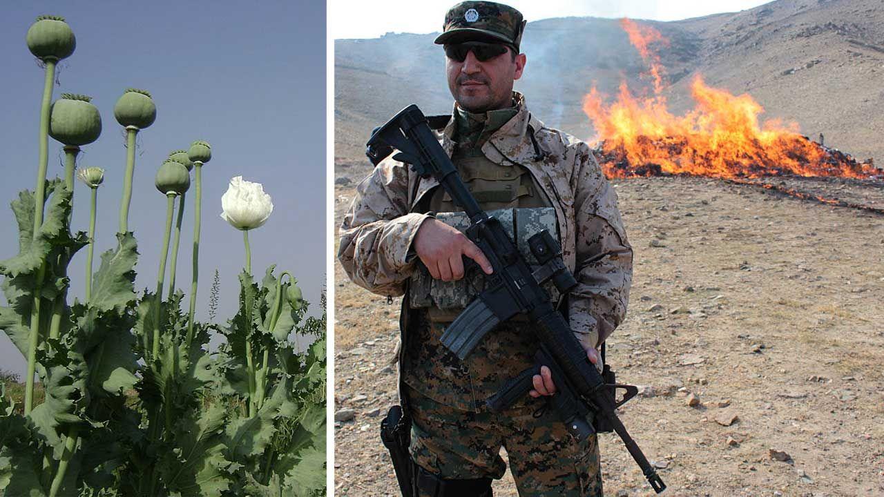 Nielegalna plantacja maku i spalanie stosu heroiny przez służby afgańskie (fot. Majority World/Universal Images Group via Getty Images; Wali Sabawoon/NurPhoto)