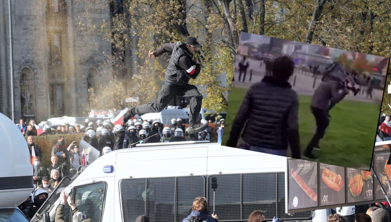 Na placu Defilad doszło do zamieszek (fot. PAP/Wojciech Olkuśnik; ositek/ telegram)