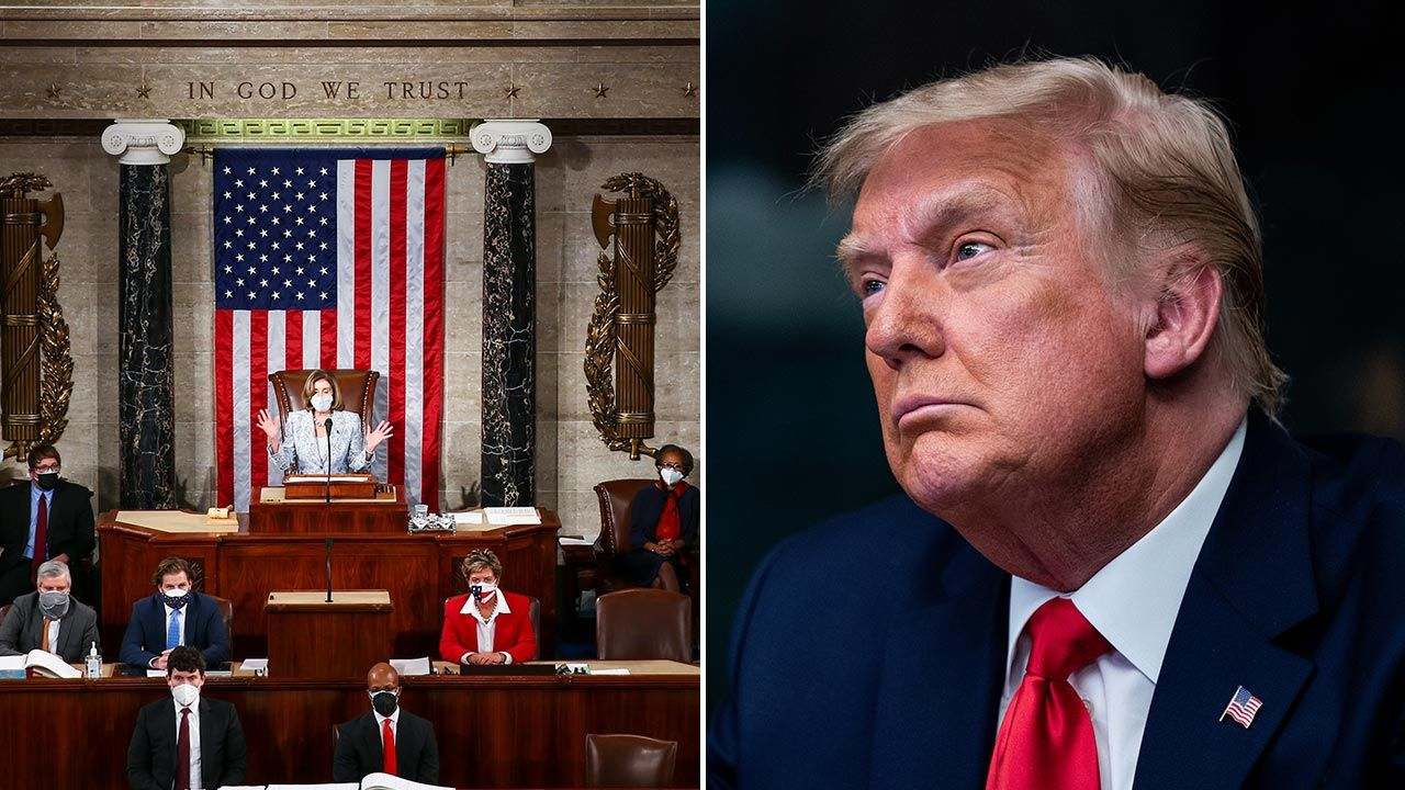 Według Demokratów Trump, którego kadencja kończy się 20 stycznia, stanowi poważne zagrożenie dla USA (fot. Tasos Katopodis/Getty Images;  Erin Schaff - Pool/Getty Images)