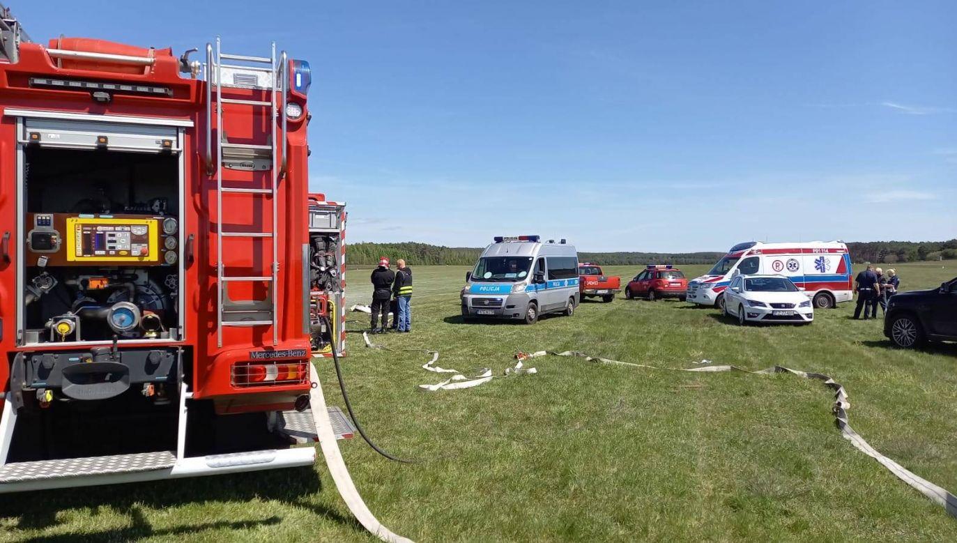 Na miejscu pracowało kilka zastępów straży (fot. Lubuska Straż Pożarna)