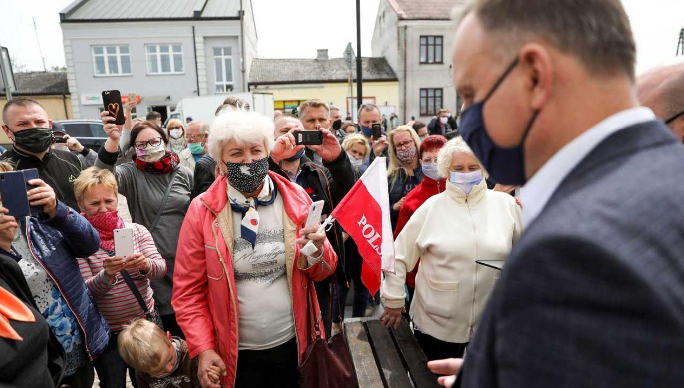 W sobotę prezydent Andrzej Duda odwiedził Garwolin, spotkał się też z mieszkańcami Maciejowic (fot. PAP/Jakub Szymczuk/KPRP)