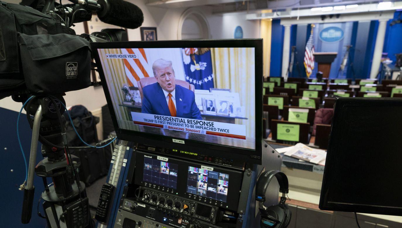 Donald Trump odniósł się do sztrumu na Kapitol (fot. PAP/EPA/Chris Kleponis)