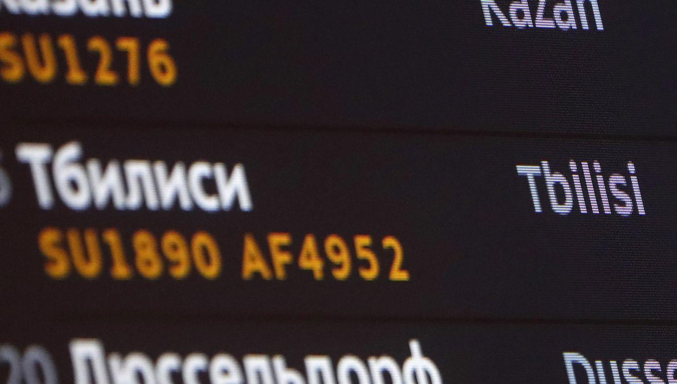 Moskwa wstrzymała loty zarówno rosyjskich jak i gruzińskich przewoźników (fot. PAP EPA MAXIM SHIPENKOV)