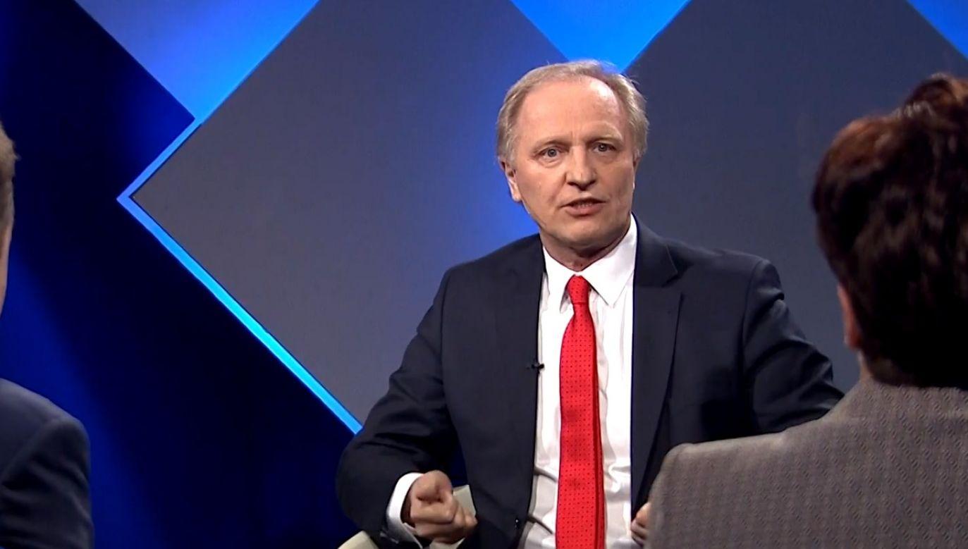 """Włodzimierz Tomaszewski w """"Strefie Starcia"""" (fot. TVP Info)"""