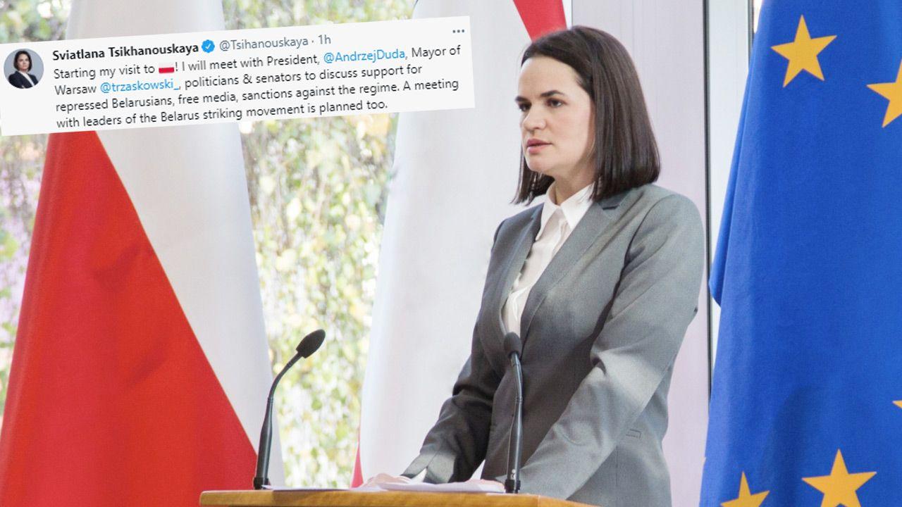 Z prezydentem Andrzejem Dudą Swiatłana Cichanouska ma rozmawiać również na temat represji wobec Polaków (fot.TT/Sviatlana Tsikhanouskaya)
