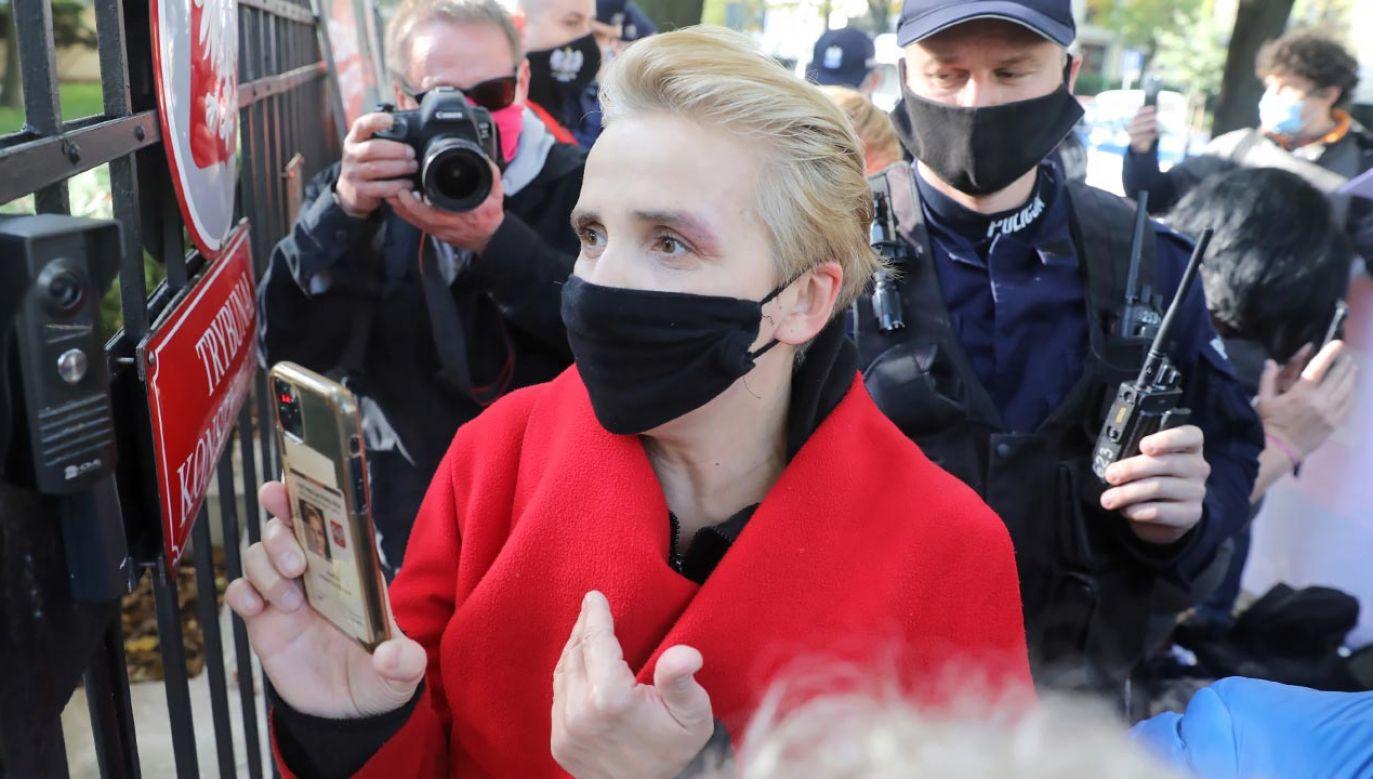 Posłanka Joanna Scheuring-Wielgus ujawniła dane funkcjonariusza i domaga się od policji przeprosin (fot. PAP/Tomasz Gzell)