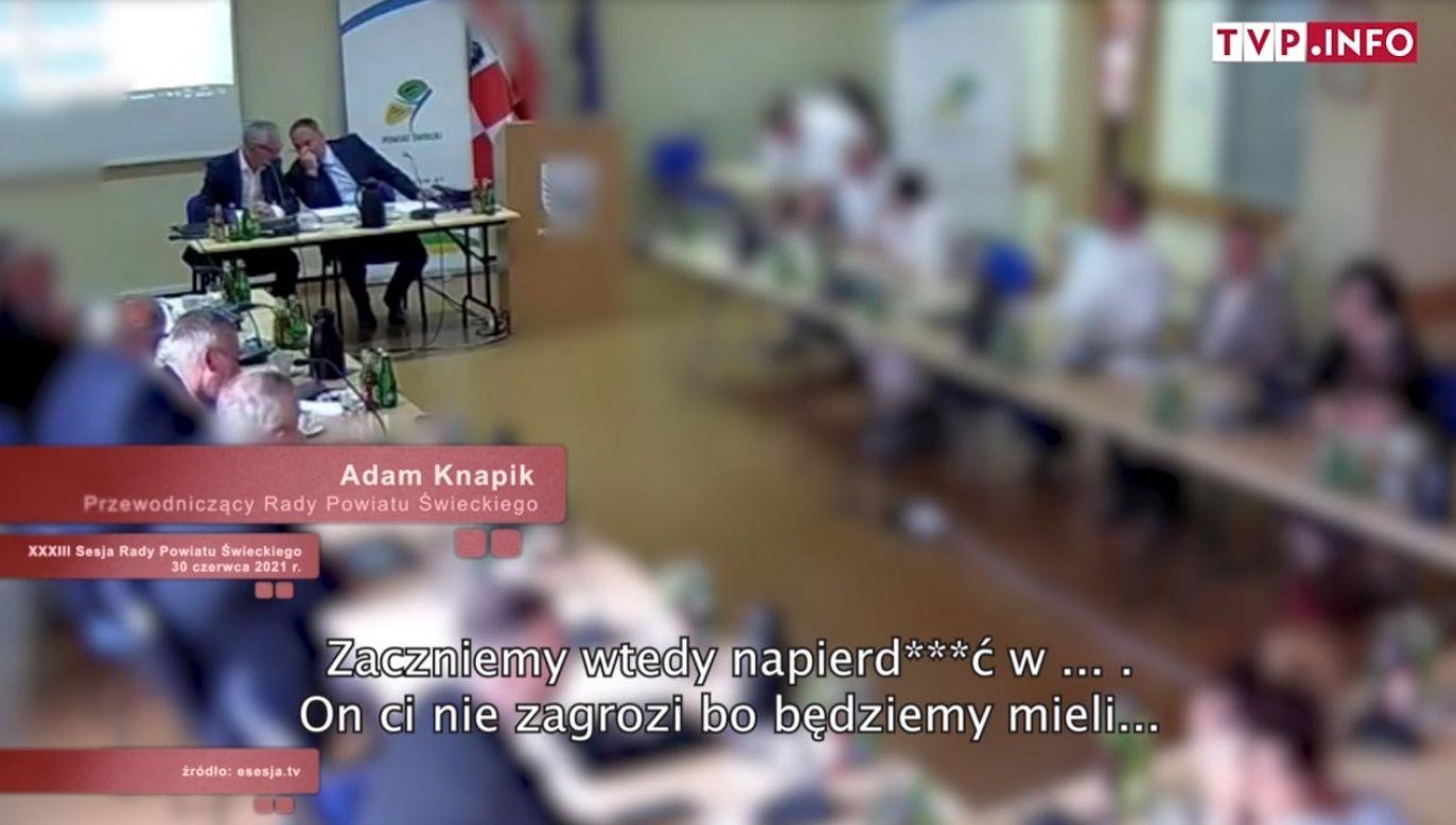 Nagranie z sesji rady w Świeciu (fot. esesja.tv)