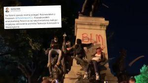 Cokół pomnika zamalowano antyprezydenckimi i antyrasistowskimi napisami (fot. Twitter/Paweł Żuchowski)