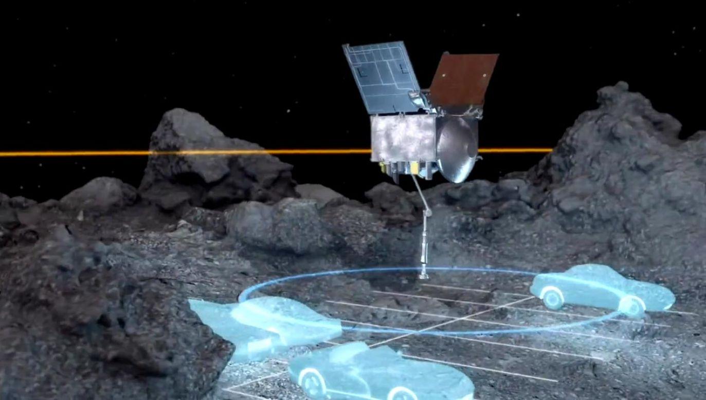 OSIRIS-REx wystrzeli ładunek azotu pod ciśnieniem, który ma podnieść odrobinę pyłu nad powierzchnię Bennu (fot. NASA)