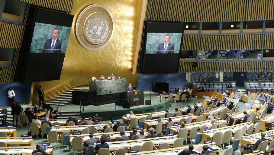 Prezydent Duda na forum ONZ (fot. PAP/EPA/MATT CAMPBELL)
