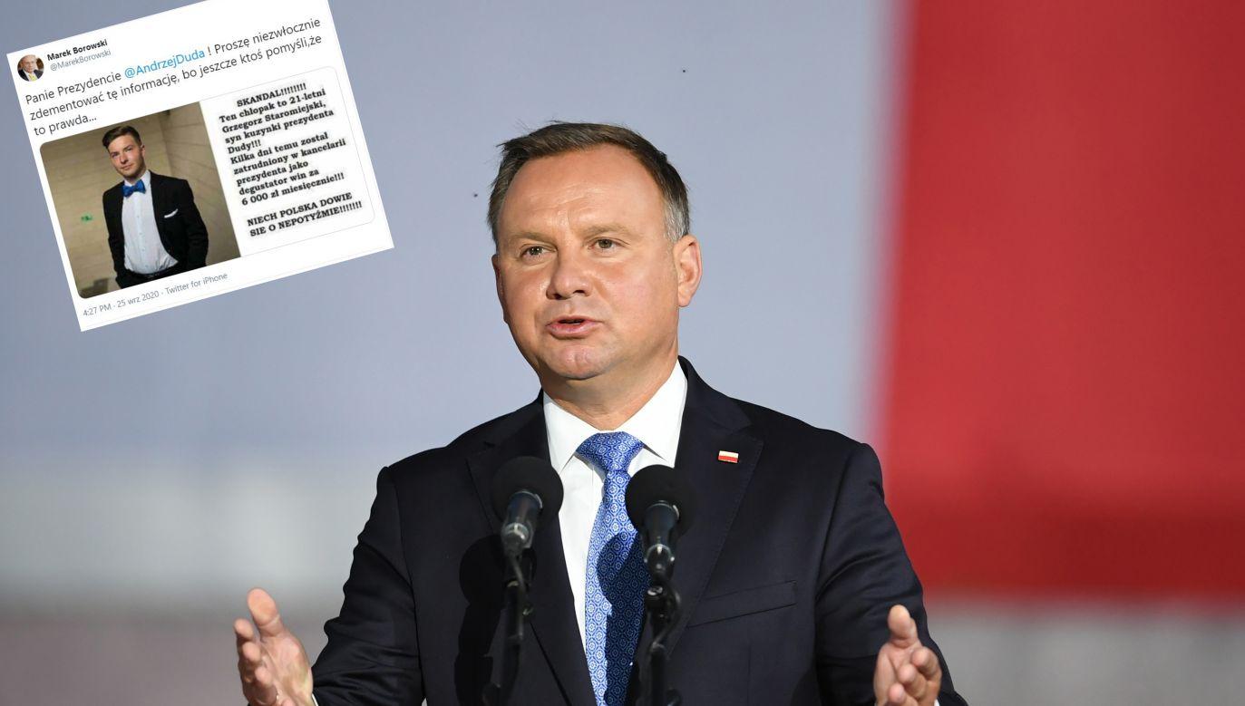 Prezydent odpowiedział na nieprawdziwą grafikę powieloną przez Marka Borowskiego (fot. PAP/Adam Warżawa, Twitter/Marek Borowski)