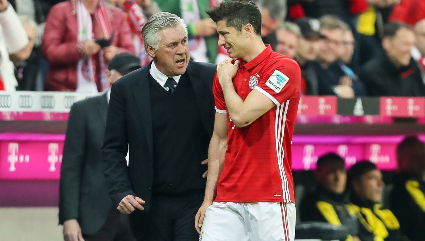 Carlo Ancelotti i Robert Lewandowski (fot. Getty Images)